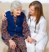 Elder care professional with senior